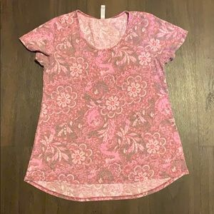 Lularoe pink floral paisley classic t tee large l